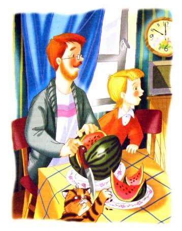 Дениска с папой едят арбуз