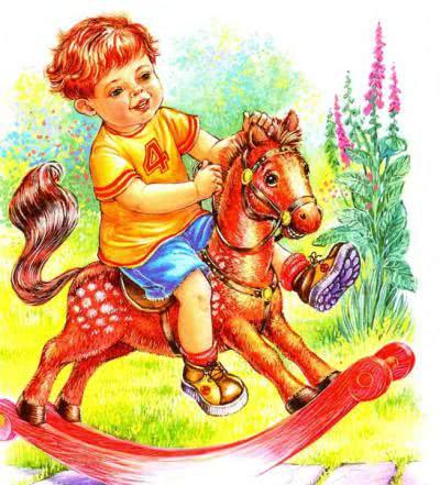 Я люблю свою лошадку, Причешу ей шёрстку гладко, Гребешком приглажу хвостик И верхом поеду в гости.