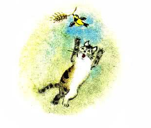 кошка ловит синицу