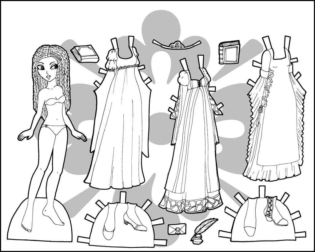 Раскраска бумажные куклы с одеждой для вырезания распечатать и раскрасить
