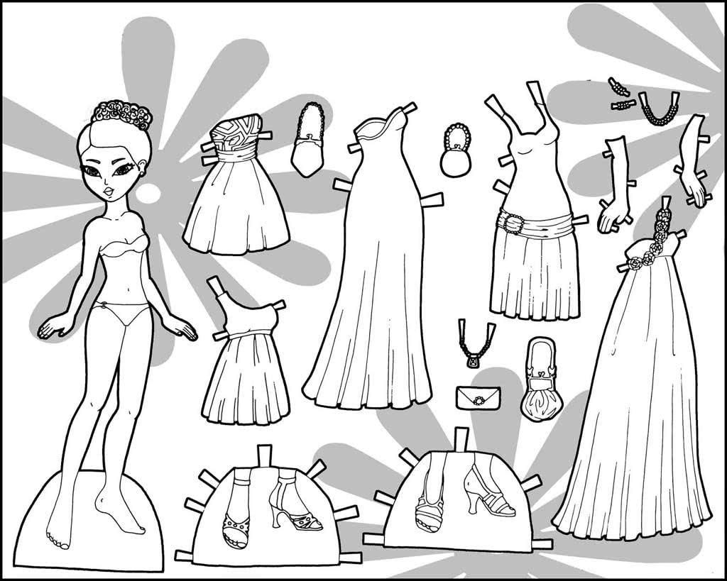 Раскраска одежда для кукол