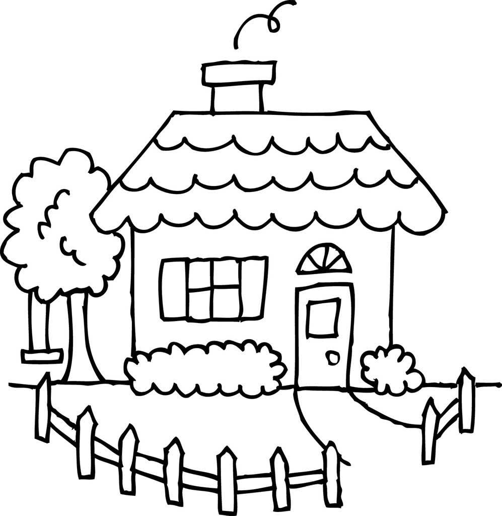 Дом рисунок для раскрашивания
