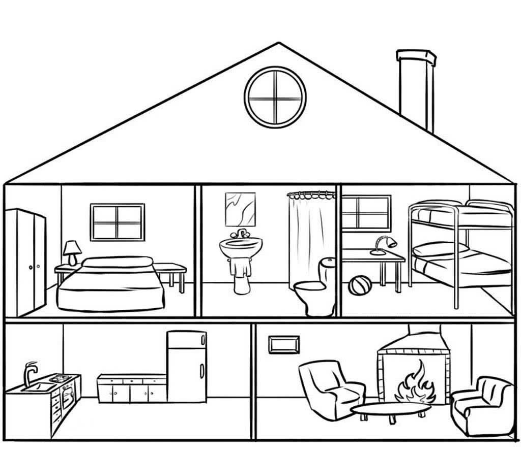 Картинка дом и комнаты на английском