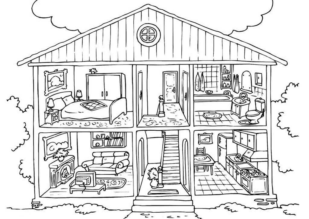 раскраски комната подборка раскрасок с мебелью и декором