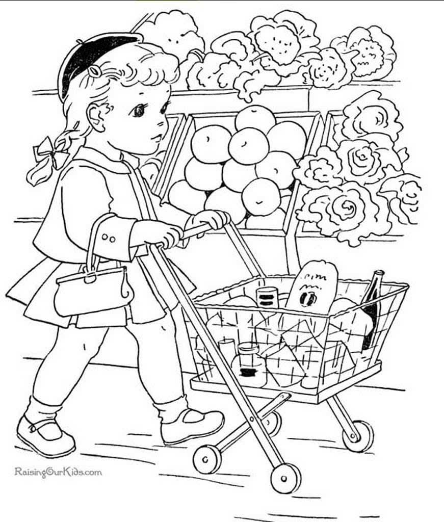 раскраски магазин раскраски магазина с продуктами для детей
