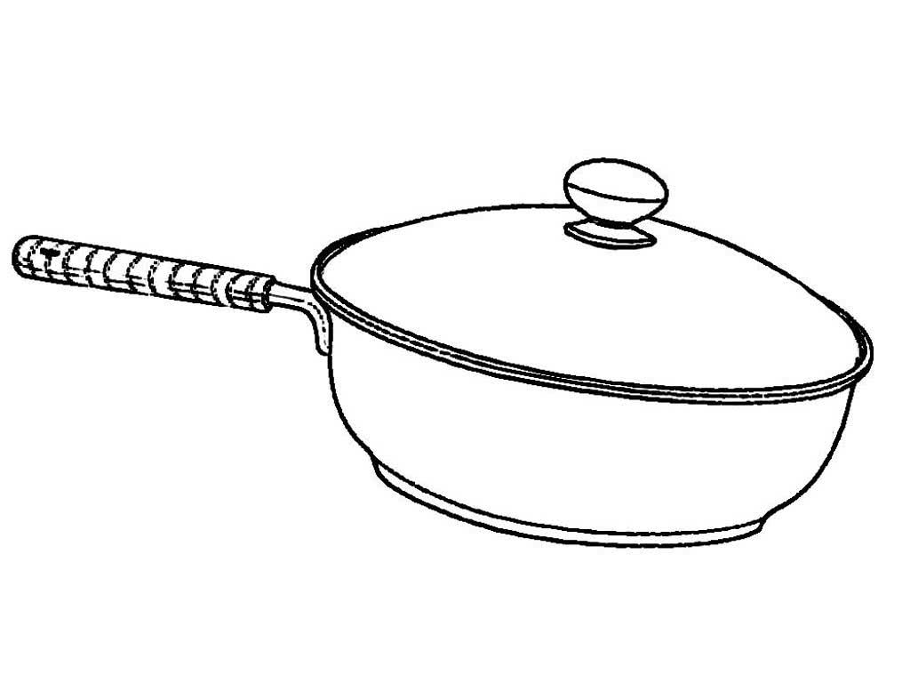 Черно белый рисунок посуды