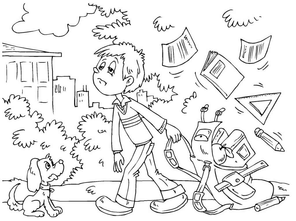 Раскраски о школе и учениках