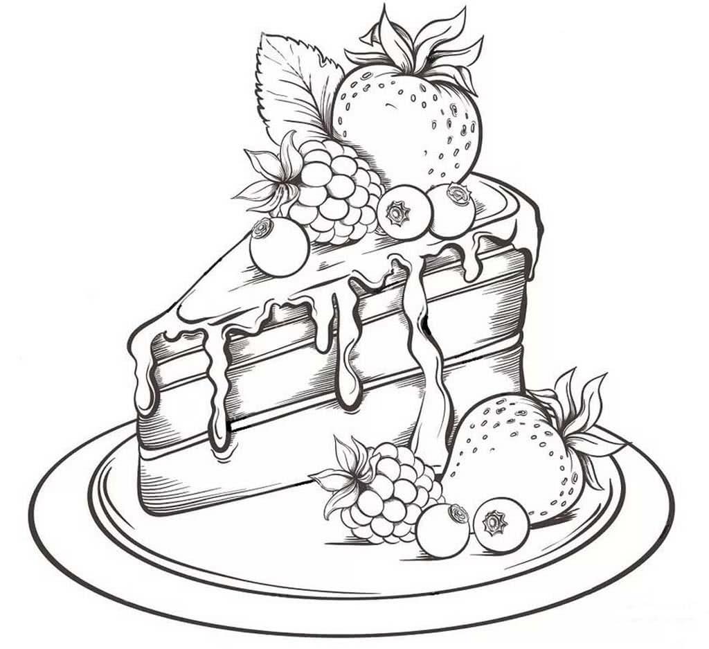 Раскраски Торты. Раскраски со вкусными и красивыми тортиками.