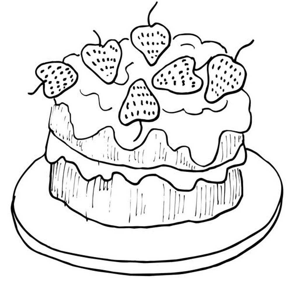 Раскраски тортики и пирожные, поздравлением