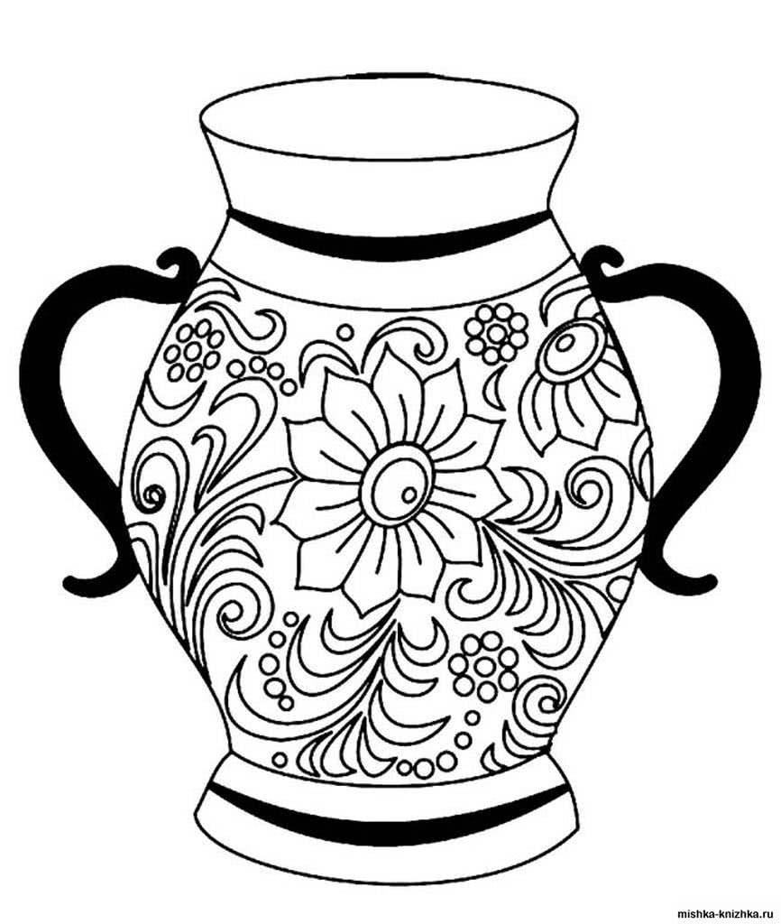 картинки черно белые для распечатки вазы ленинград