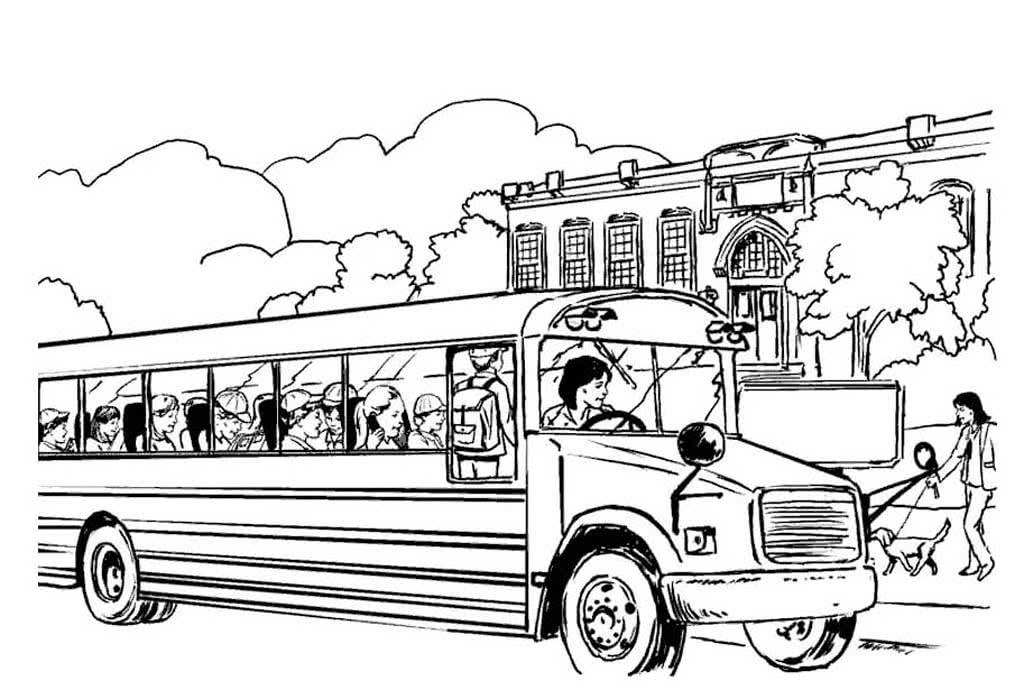 картинки разукрашки автобус время, когда