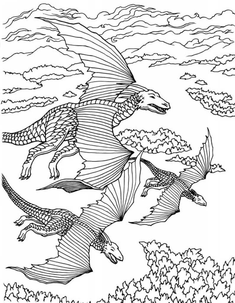 Раскраски Драконы