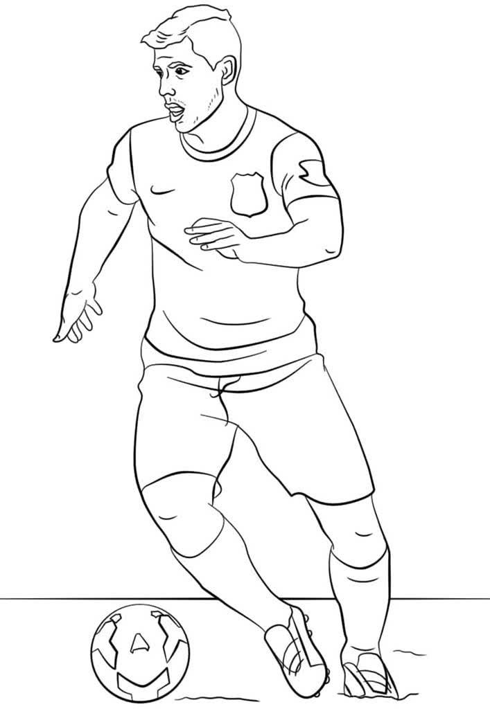 картинка для раскраски футболиста многие барышни порой