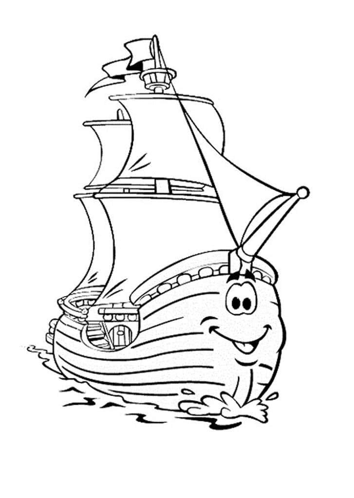 Картинка для детей корабль раскраска