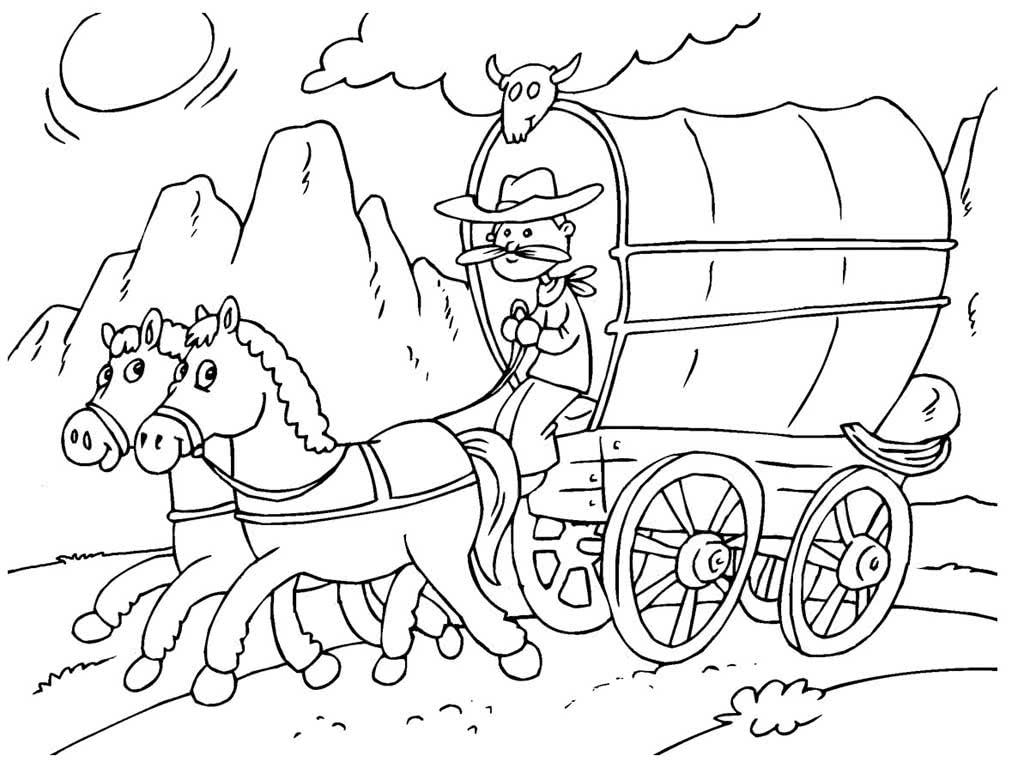 рисунок кареты с лошадьми карандашом чаще