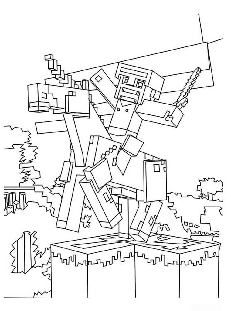 раскраски майнкрафт Minecraft раскраски с героями