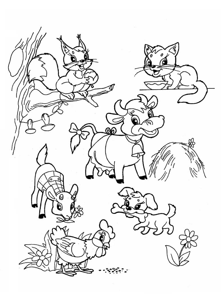 Картинки домашних животных раскраска на одном листе