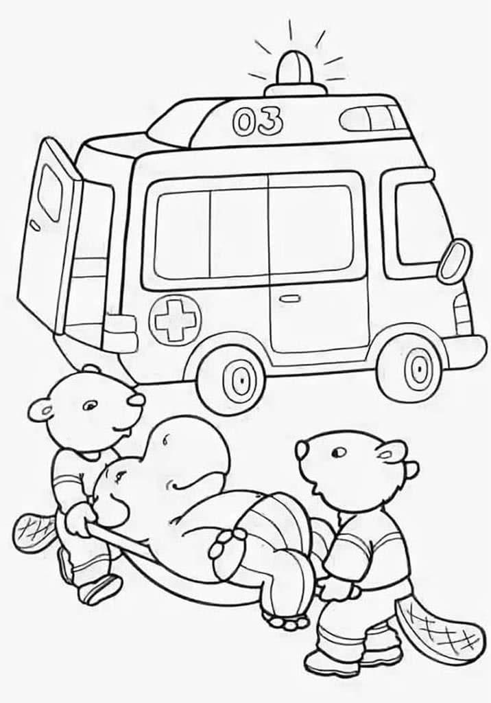 Картинка скорой помощи для раскрашивания