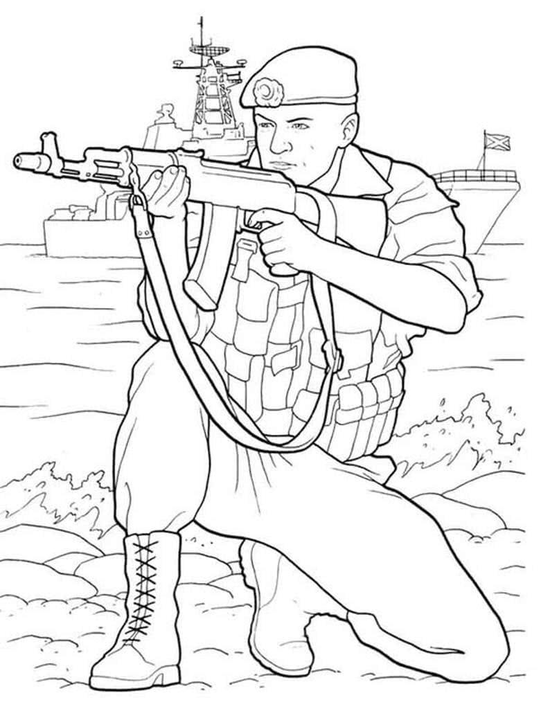 Для открытки, открытка раскраска к 23 февраля солдат