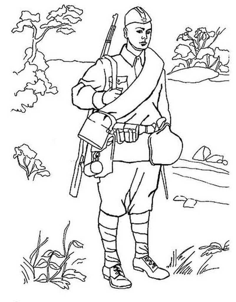 Солдат картинка для детей черно белая