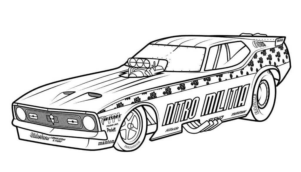 Раскраски Спортивные автомобили для мальчиков 5-10 лет.