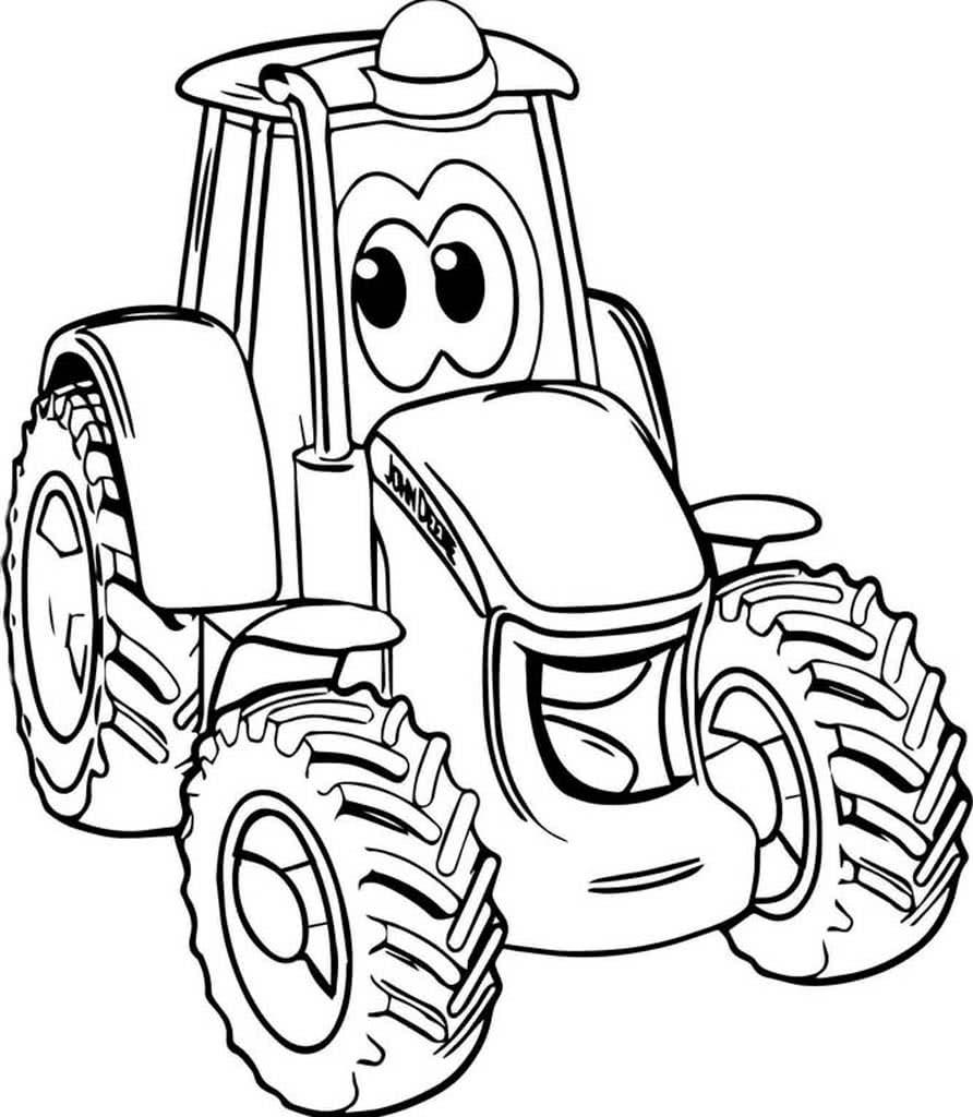Раскраска с трактором для малышей
