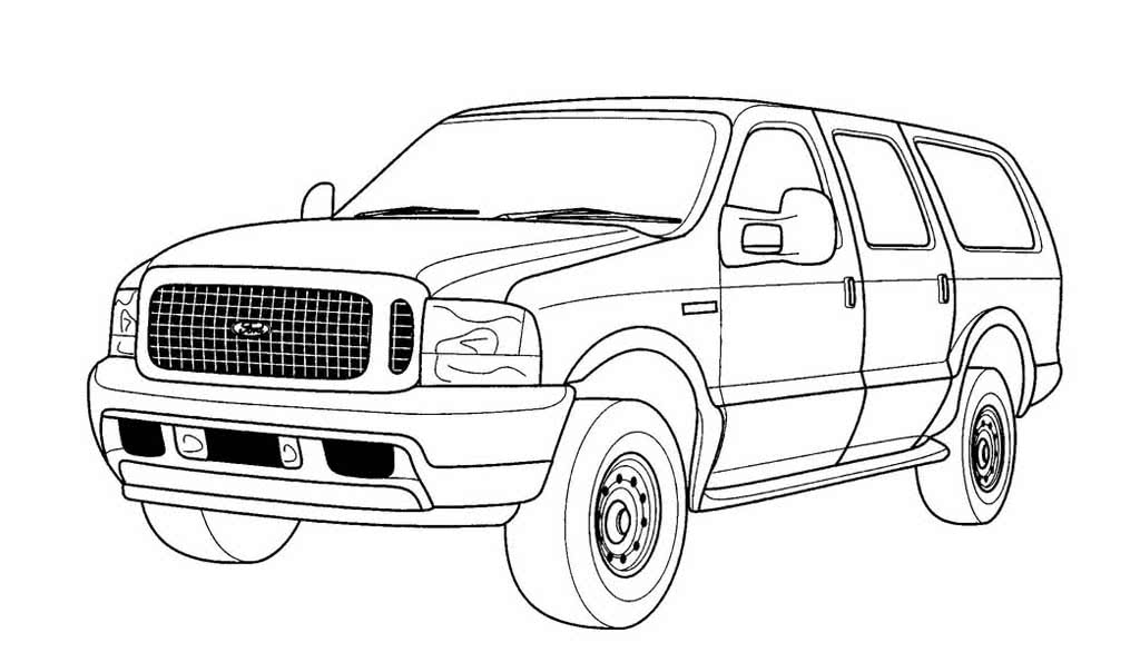 распечатать раскраски про машины форд конструкция