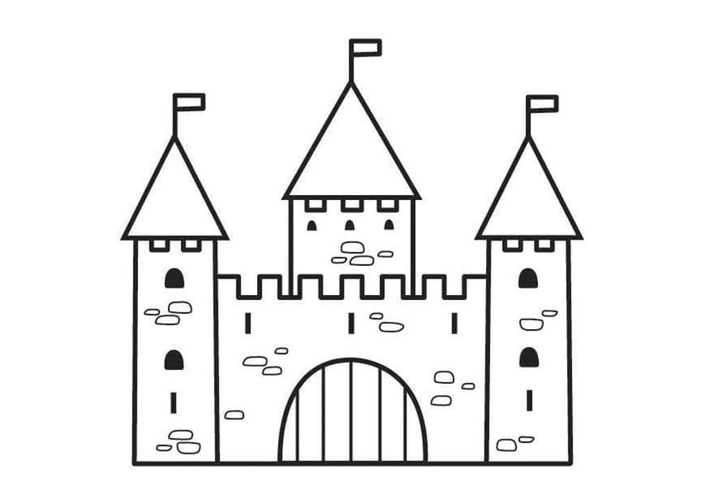 Замок раскраска для детей распечатать