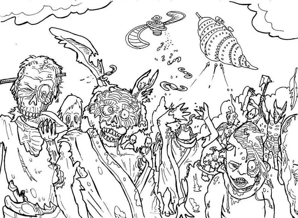 Раскраски Зомби