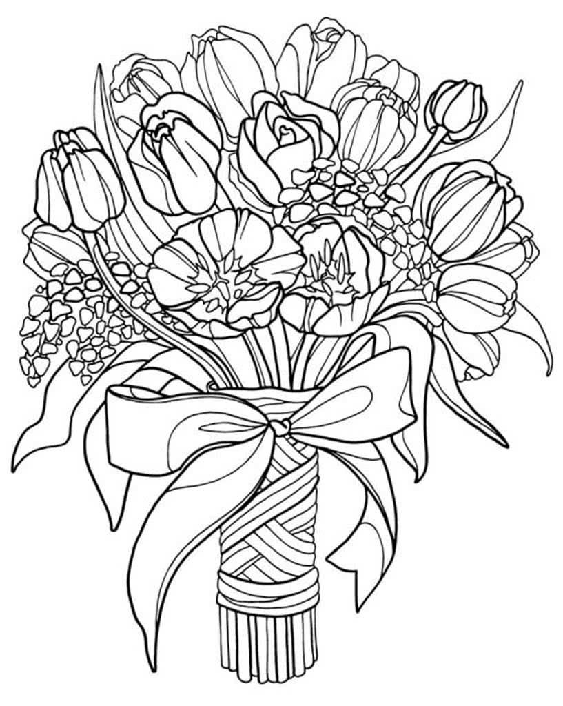 Раскраски Цветы для детей 3-10 лет. Цветы в вазе, букеты ...