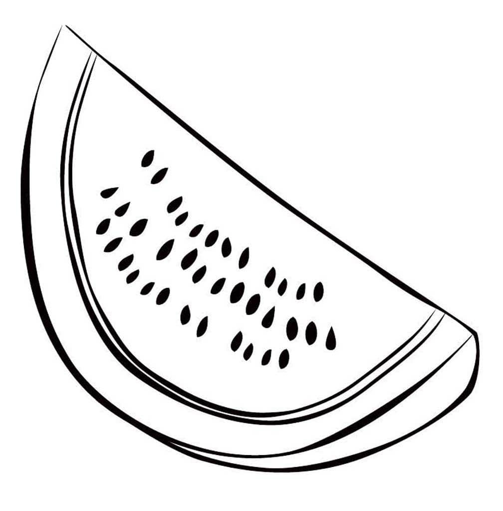 Картинки для срисовки арбузик черно белый
