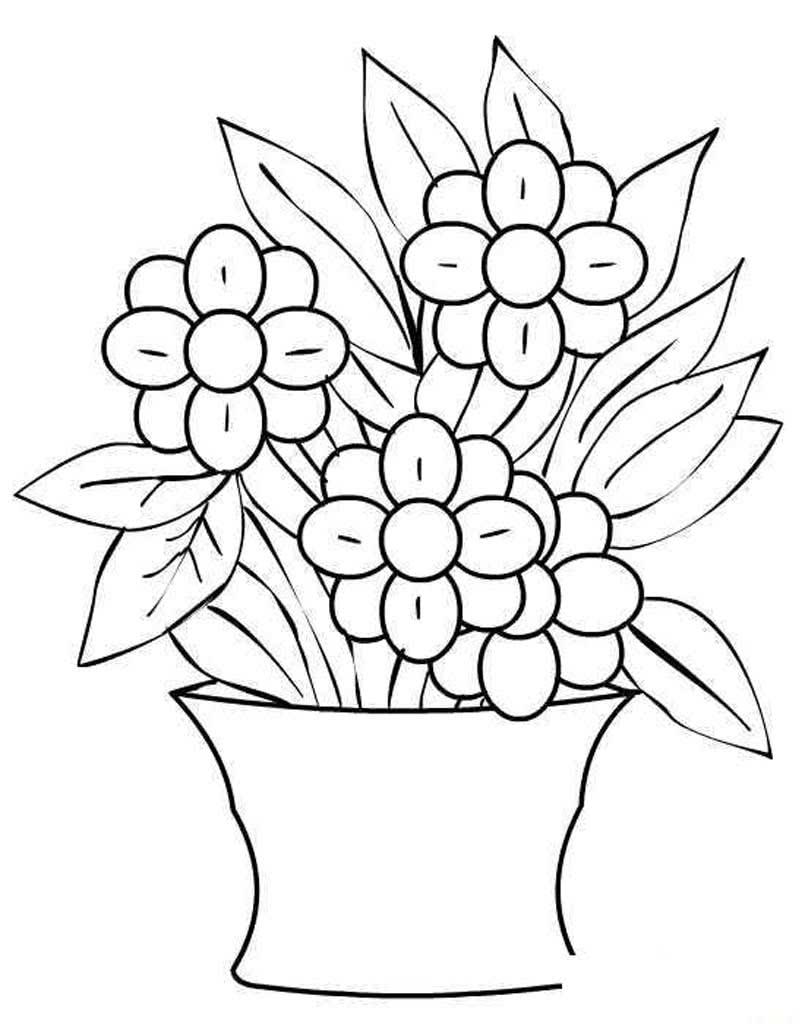 Цветок в вазе раскраска для детей