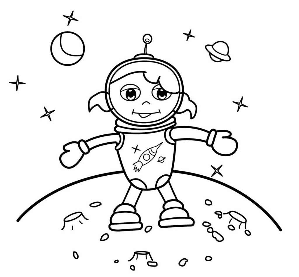 astronaut grabbing a star coloring page free printable - 700×900