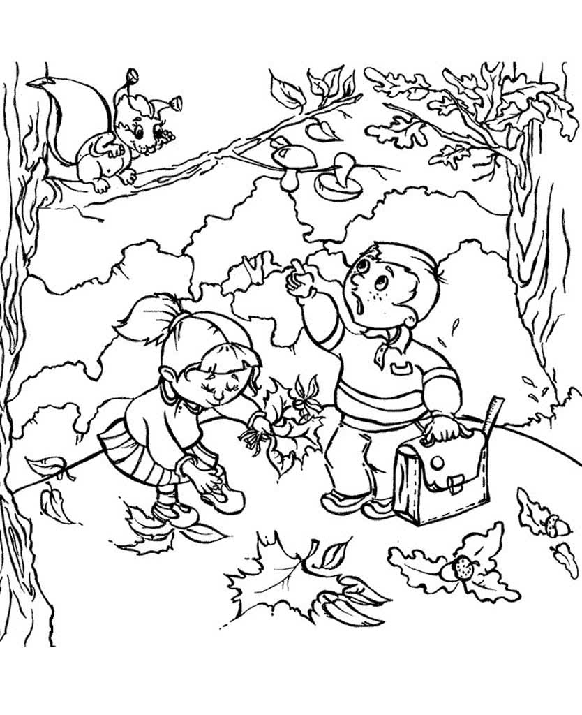 Детская раскраски про осень