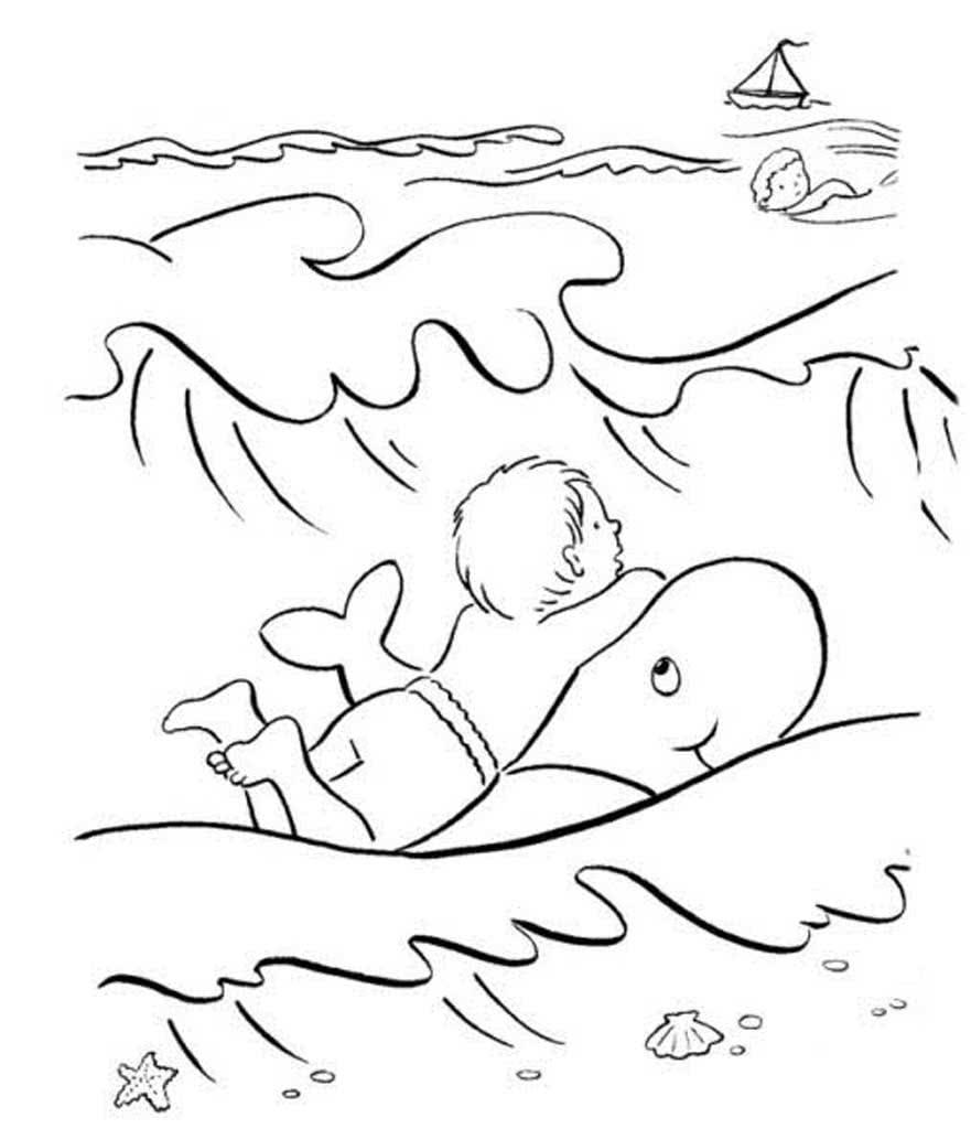 Раскраска плавать в море