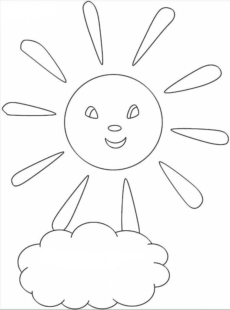 Рисунок для раскраски солнышко