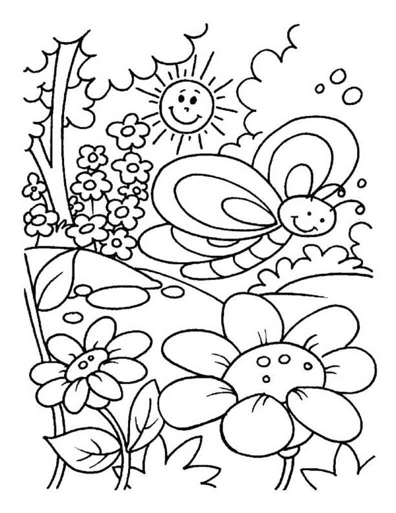 Картинка цветы раскраска лето