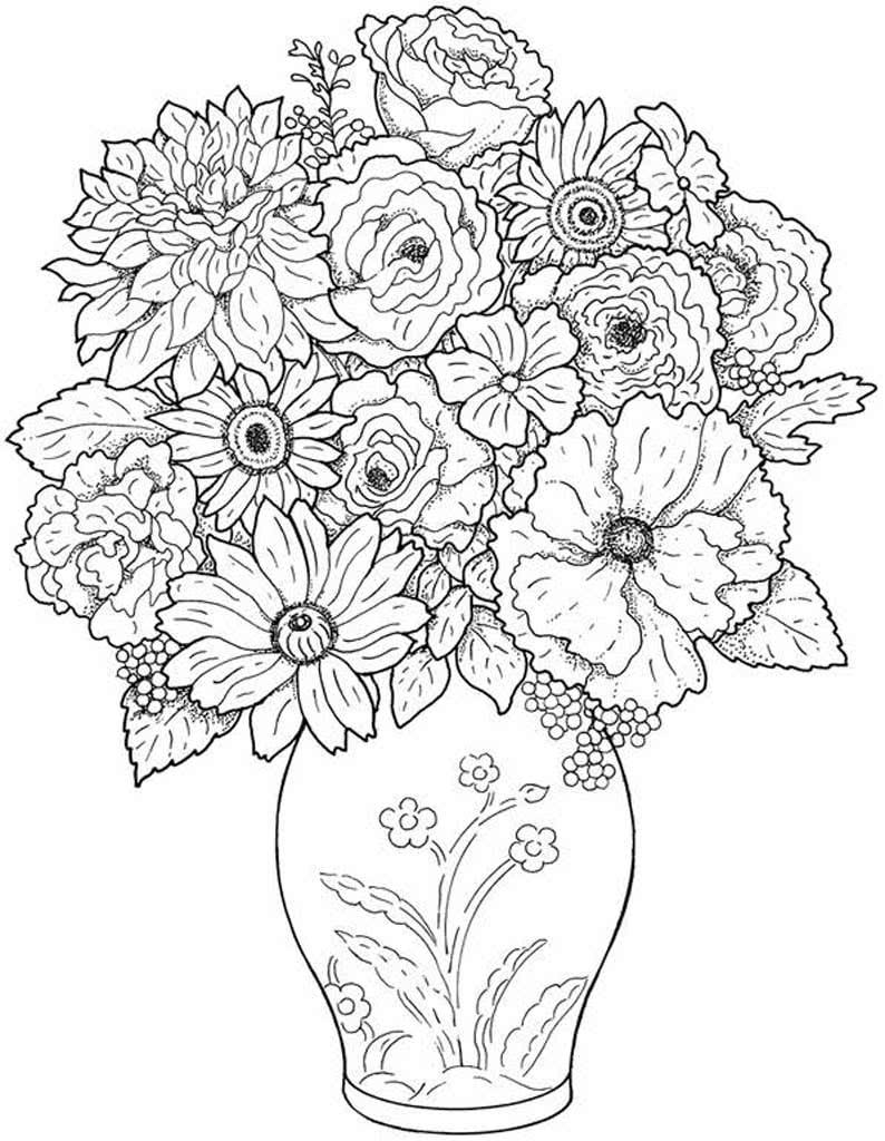 Картинки для раскрашивания для девочек цветы