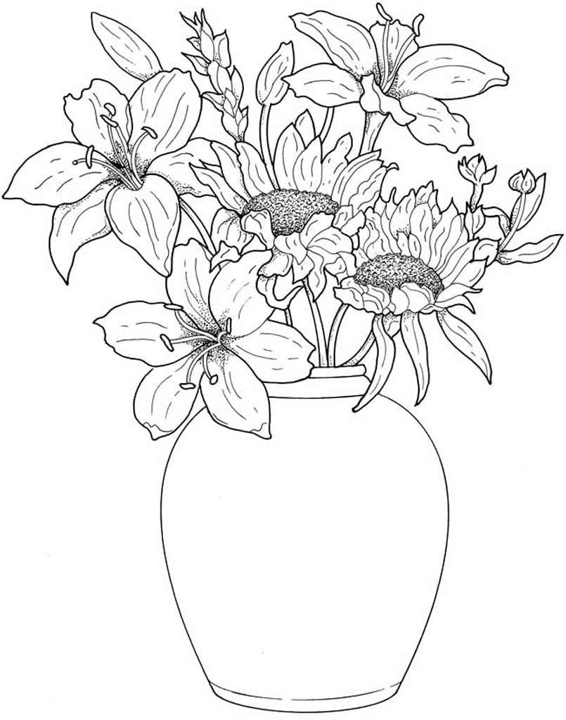 Ручные открытки, открытка раскраска цветы в вазе