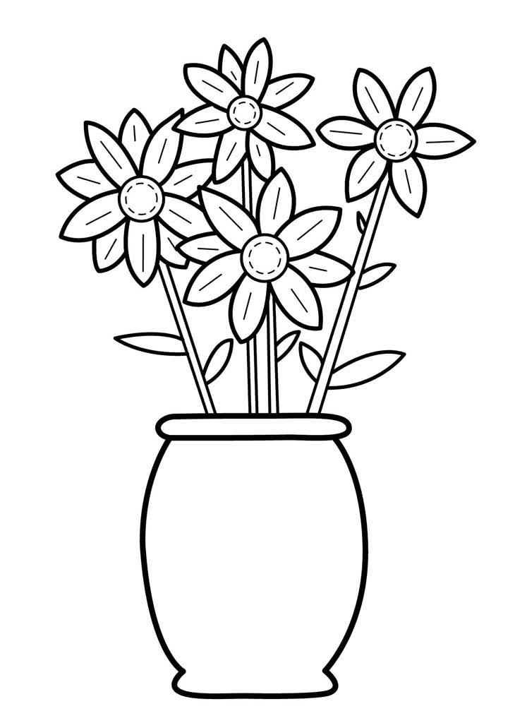Марта, раскраска ваза с цветами