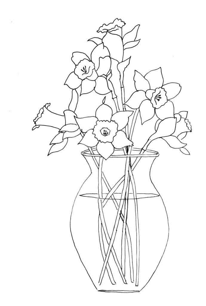 Сделать открытку, раскраска цветов в вазе