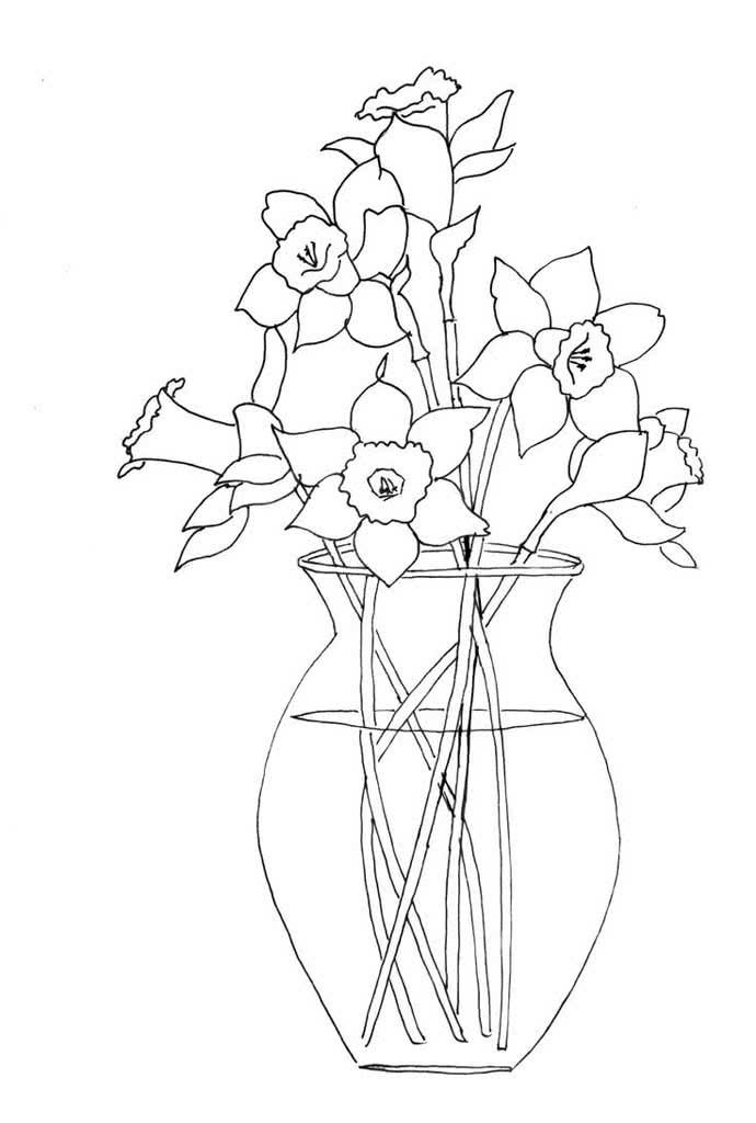 Рисунок ваза с цветами карандашом легко
