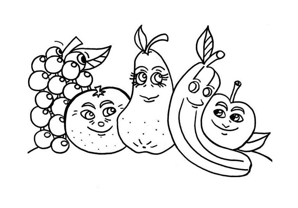 Раскраски Фрукты для детей 3-10 лет. Весёлые фрукты для ...