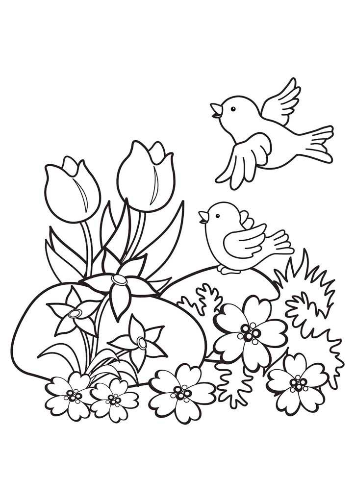 Раскраски Весна для детей 3-10 лет. Раскраски Времена года.