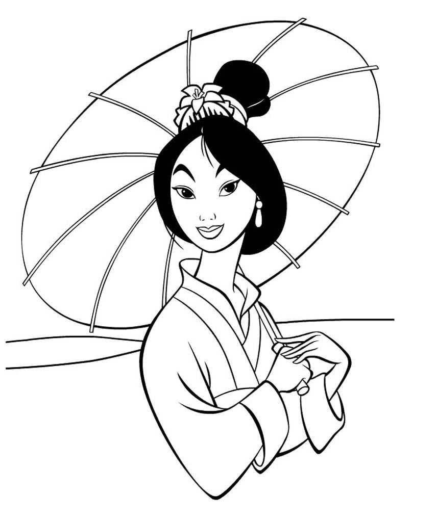 Раскраски Мулан. Раскраски их мультфильма про девушку Мулан.