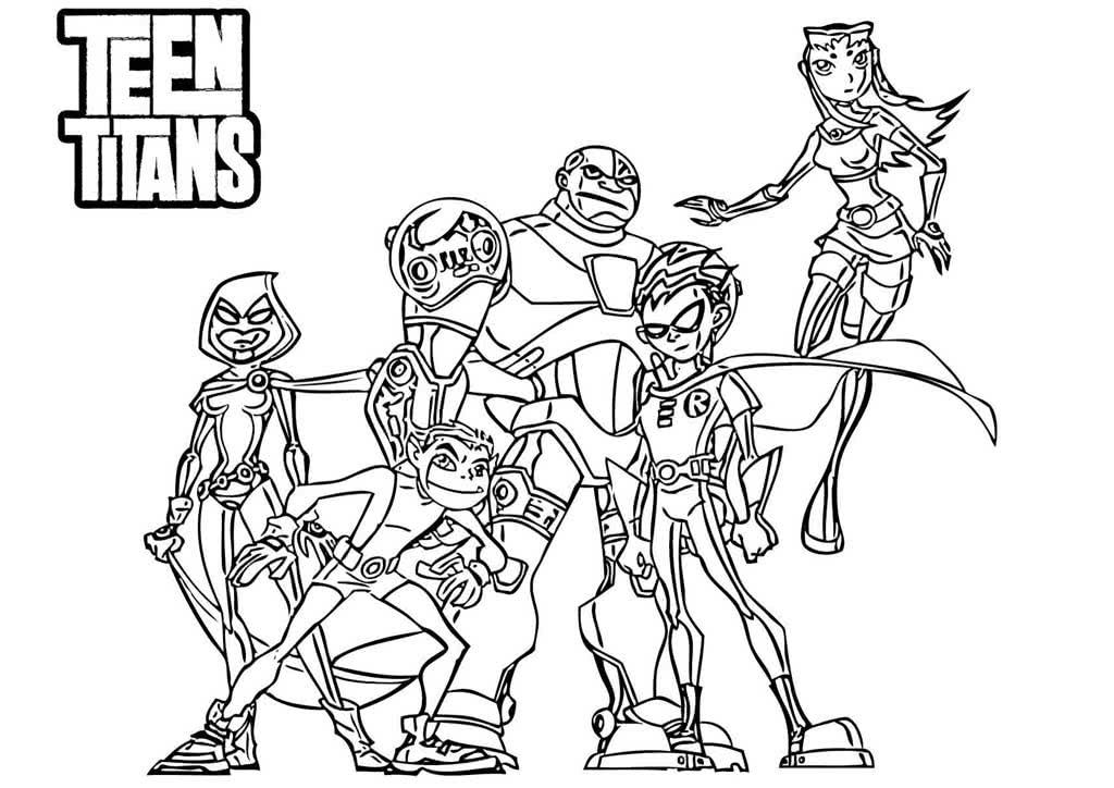 Раскраски Юные титаны
