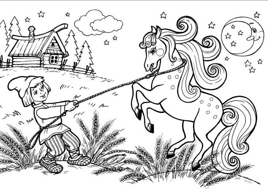 рисунки к коньку горбунку поэтапно