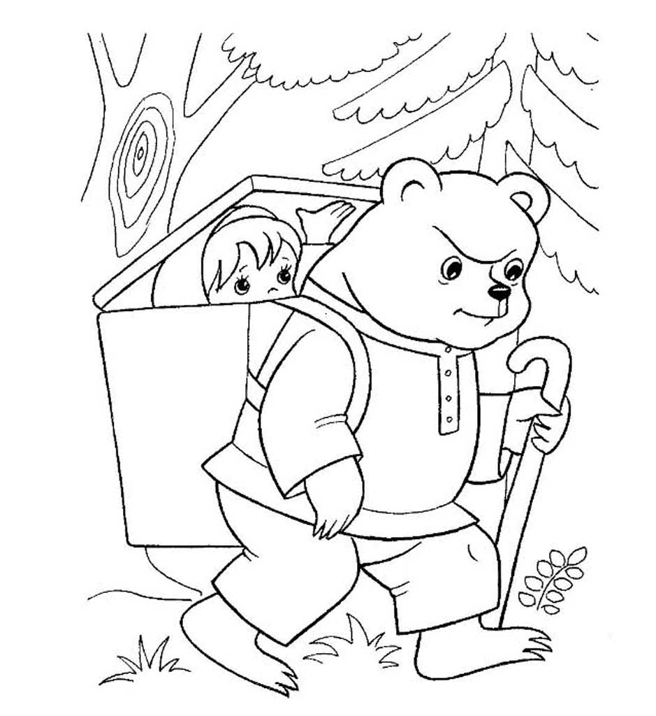 Раскраски сказка Маша и Медведь. Раскраски из русской ...