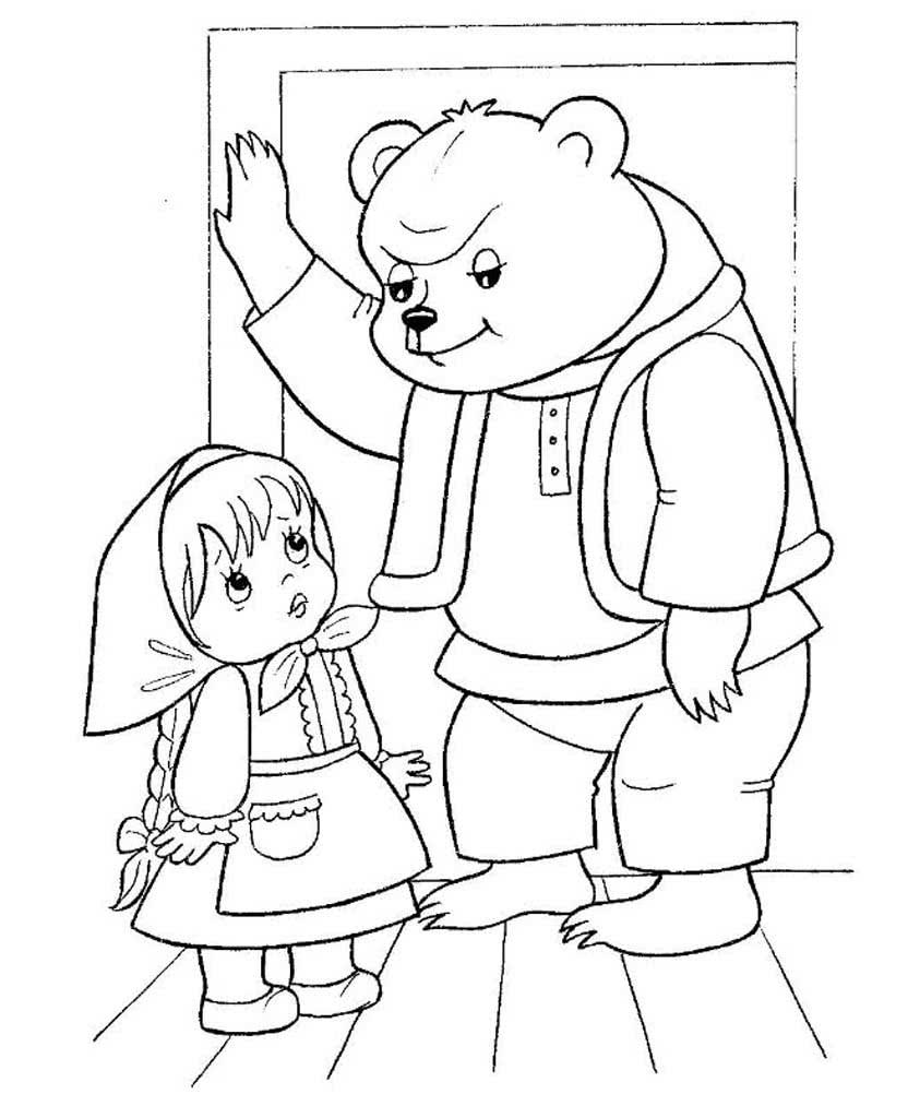 Картинки сказка маша и медведь раскраска распечатать