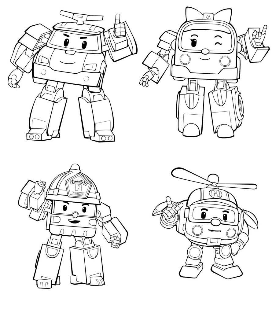 Раскраски Робокар Поли
